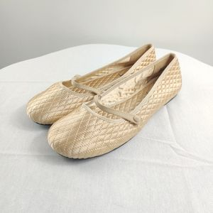 Sam & Libby gold quilted mary jane flats